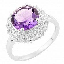Серебряное кольцо Гортензия с аметистом и фианитами