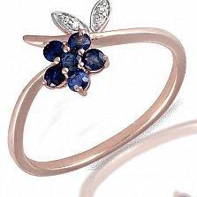 Кольцо из красного золота Флавин с бриллиантами и сапфирами