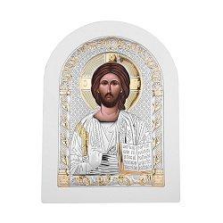 Икона Христа Спасителя с серебром в белой деревянной рамке 000140112