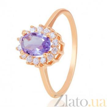 Золотое кольцо Синтия с аметистом и фианитами EDM--КД4028АМЕТИСТ