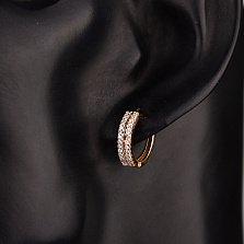 Золотые серьги-конго Инга с двумя дорожками белых фианитов