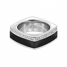Золотое кольцо в белом цвете с бриллиантами и эмалью Утро и вечер