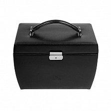 Черная шкатулка Merino с ручкой и выдвижными ящиками на замке
