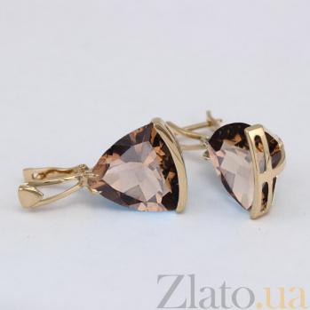 Серьги из золота с раухтопазами Токио VLN--113-1376-2