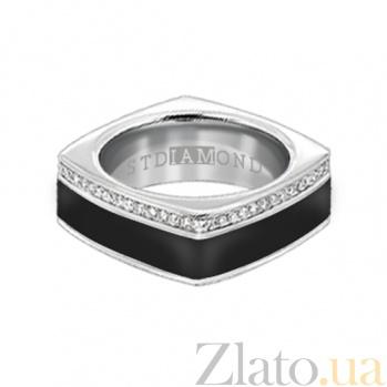 Золотое кольцо в белом цвете с бриллиантами и эмалью Утро и вечер 000029648