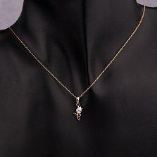 Золотая подвеска Нежный тюльпан с кристаллом Swarovski