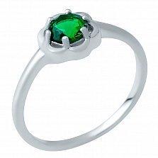 Серебряное кольцо Габриела с синтезированным изумрудом
