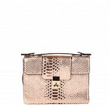 Кожаный клатч Genuine Leather 1606 розового цвета под кожу рептилии с короткой ручкой