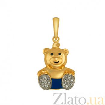 Детский золотой кулон Мишка в желтом цвете с синей эмалью, черными и белыми фианитами VLT--Т341-4
