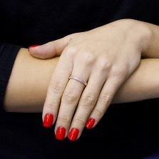 Кольцо Стиль из красного золота с дорожками белых фианитов