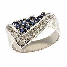 Серебряное кольцо с цирконием и сапфирами Косынка