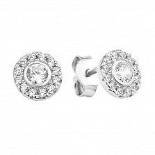 Серебряные серьги-пуссеты Весенние цветы с белыми фианитами