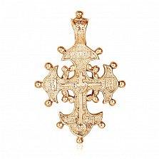 Серебряный крестик Храни тебя Господь с позолотой