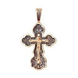 Крестик Святые слова в красном золоте с чернением 000104438