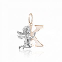 Подвес из серебра Ангелочек с буквой К с позолотой