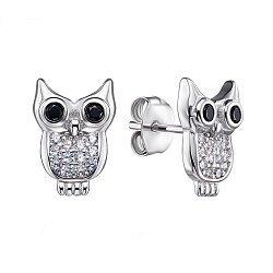 Срібні сережки-пусети з фіанітами 000135905