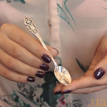 Серебряная кофейная ложка Традиции с узорной ручкой 000079996