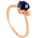Золотое кольцо Валери с корундом и цирконием