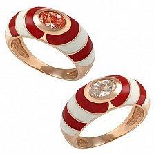 Кольцо в красном золоте Ия с оранжевым или белым фианитом и эмалью