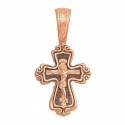 Крестик из красного золота с чернением 000129099