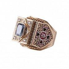 Золотой перстень-печатка Министр с государственными знаками управления, эмалью и цирконием