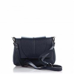 Кожаный клатч Genuine Leather 1382 темно-синего цвета с декором на клапане и плечевым ремнем 0000922