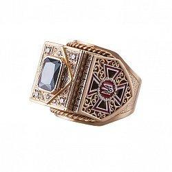 Золотой перстень-печатка Министр с государственными знаками управления, эмалью и цирконием 000095782