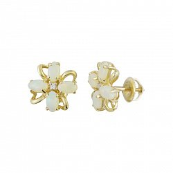 Серьги-пуссеты из желтого золота Ясмин с бриллиантами и белыми опалами
