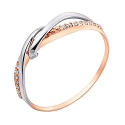 Золотое кольцо в красном цвете с дорожками фианитов 000095167
