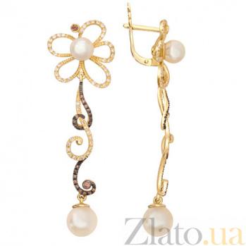 Золотые серьги с жемчугом и цирконием Дениза VLT--ТТ2391