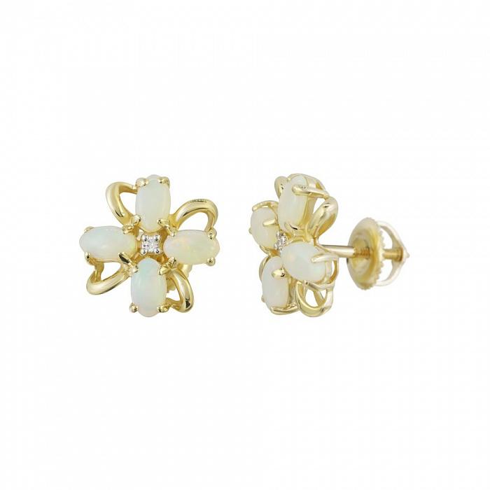 Серьги-пуссеты из желтого золота Ясмин с бриллиантами и белыми опалами 000081221