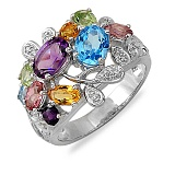 Кольцо из белого золота с бриллиантами, перидотами, топазами, турмалинами и цитринами Вояж
