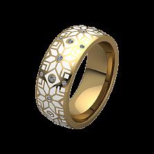 Обручальное кольцо из желтого золота Алатырь с белой эмалью и бриллиантами