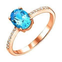 Кольцо из красного золота с голубым топазом и цирконием 000126553