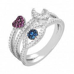 Серебряное кольцо с разноцветными фианитами 000060588