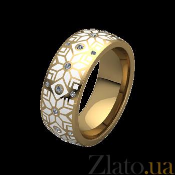 Обручальное кольцо из желтого золота Алатырь с белой эмалью и бриллиантами 000068716