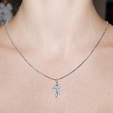 Крестик из белого золота Благословение