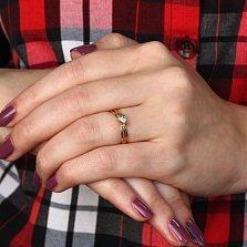 Кольцо из желтого золота с бриллиантом Лаки