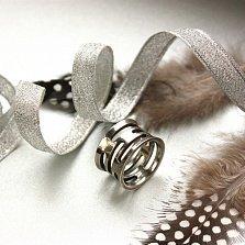 Серебряное широкое кольцо Bark с геометрическими вырезами и чернением
