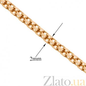 Золотая цепь Ланкастер в плетении двойной якорь, 2мм 000070816