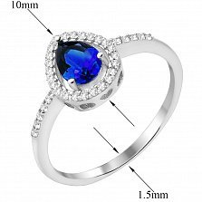 Серебряное кольцо с сапфиром и фианитами 000132679