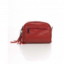 Кожаный клатч Genuine Leather 1828 красного цвета с передним карманом и молнией