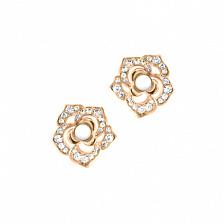 Золотые серьги с кахолонгом и бриллиантами Amoroso