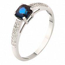 Кольцо из белого золота с бриллиантами и сапфиром Тайна