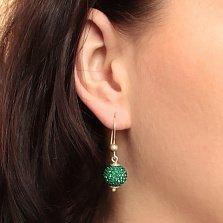 Серебряные серьги-подвески в форме шаров Блеск с насыщенно-зелеными кристаллами Swarovski