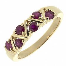 Золотое кольцо Иоланта в красном цвете с рубинами