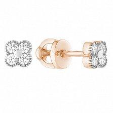 Серебряные позолоченные серьги-пуссеты Lucky Style с цирконием в стиле Ван Клиф