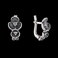 Серебряные черненые серьги Сакура с белыми фианитами