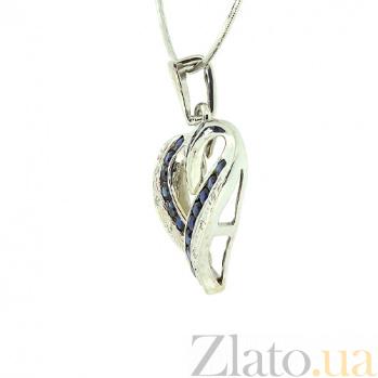 Подвес из белого золота с сапфирами и бриллиантами Большое сердце ZMX--PS-6124w_K