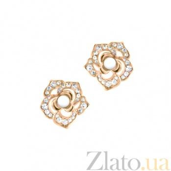 Золотые серьги с кахолонгом и бриллиантами Amoroso 000029673